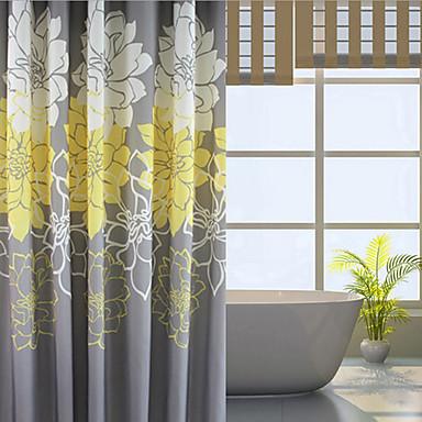 Cortina de baño Neoclasicismo Poliéster Flores / Botánica Máquina