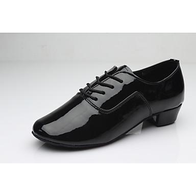 Hombre Zapatos de Baile Latino Semicuero Tacones Alto Tacón Bajo Personalizables Zapatos de baile Blanco / Negro / Plata / Interior