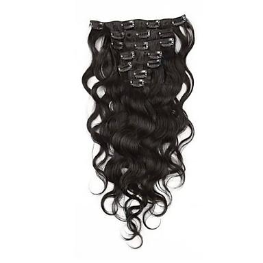 billige Hairextensions med ekte hår-Klipp På Hairextensions med menneskehår Krop Bølge Ubehandlet hår Hairextensions med menneskehår Brasiliansk hår Dame Aske Brun