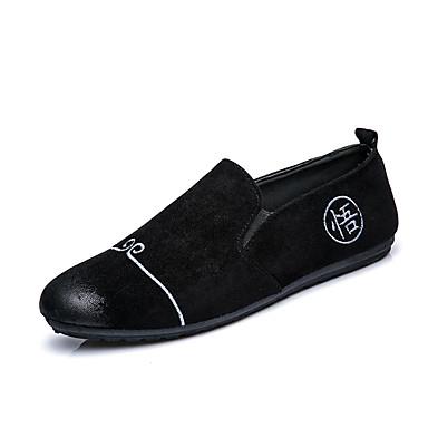 Herren Schuhe Wildleder Frühling Sommer Komfort Loafers & Slip-Ons Für Hochzeit Party & Festivität Schwarz Grau Khaki