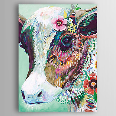 cheap Wall Art-Oil Painting Hand Painted - Abstract / Animals Modern Canvas