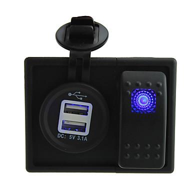 CC 12V / 24V llevado 3.1a digital de toma de cargador dual USB con cables de puente de interruptores de balancín y titular de la vivienda