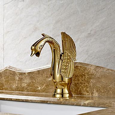 Art Deco/Retro Udspredt Keramik Ventil Et Hul Enkelt håndtag Et Hul Ti-PVD, Håndvasken vandhane