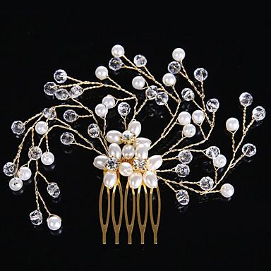 Perla / Cristal Peines de pelo / Para la Cabeza con Flor 1pc Boda / Ocasión especial Celada