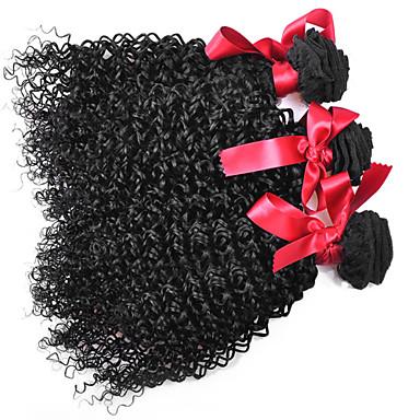 İnsan saç örgüleri Düz Brezilya Saçı Kinky Curly 12 ay 3 Parça saç örgüleri
