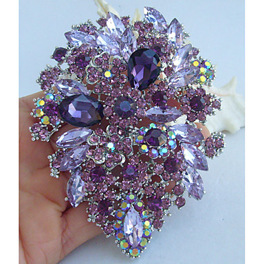 cheap Brooches-Crystal Brooches Crystal Rhinestone Vintage Party Casual everyday Brooch Jewelry Purple For Wedding Party Special Occasion Anniversary Birthday Engagement