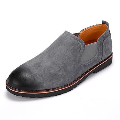 Herre sko Semsket lær Vår Høst Trendy støvler Komfort En pedal Svart Grå Rød Mørkebrun