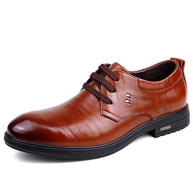 Herren Schuhe Echtes Leder Nappaleder Leder Frühling Herbst Komfort Leuchtende Sohlen formale Schuhe Tauchschuhe Outdoor Schnürsenkel Für