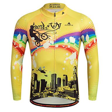 Miloto Hombre Manga Larga Maillot de Ciclismo Rayas Clásico Bicicleta Camisas Sudadera Camiseta / Maillot, Transpirable Secado rápido Bandas Reflectantes 100% Poliéster / Elástico / Avanzado
