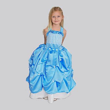 Vestido Chica de Noche Un Color Sin Mangas Primavera Verano Azul