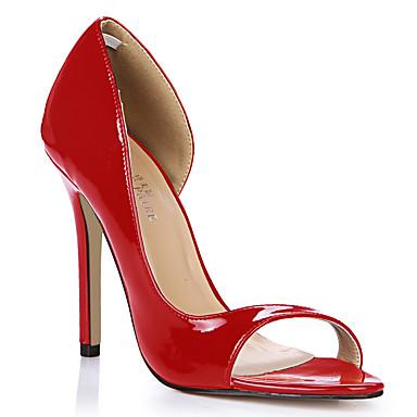 Mulheres Sapatos Couro Ecológico Verão Conforto Sandálias Salto Agulha Dedo Aberto Azul / Rosa claro / Nú