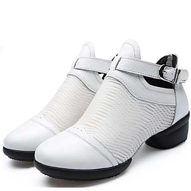Mujer Zapatos de Baile Moderno Cuero Zapatilla / Suela Dividida Tacón Bajo No Personalizables Zapatos de baile Blanco / Negro / Rojo
