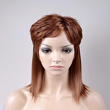 Pelucas sintéticas Mujer Ondulado Amplio Marrón Pelo sintético Marrón Peluca Corta Sin Tapa Marrón
