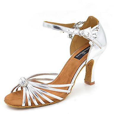 Mulheres Sapatos de Dança Latina / Sapatos de Jazz / Sapatos de Salsa Courino Sandália / Salto Pedrarias / Lantejoulas / Presilha Salto