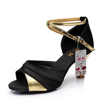 Damen Schuhe für den lateinamerikanischen Tanz Satin / Kunstleder Sandalen Schnalle Maßgefertigter Absatz Maßfertigung Tanzschuhe Rot / Silber / Gold / Innen / Leder