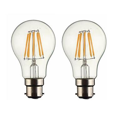ONDENN 2pcs 5 W 500-600 lm B22 مصابيحLED G60 6 الخرز LED COB تخفيت أبيض دافئ 220-240 V / 110-130 V / قطعتين / بنفايات