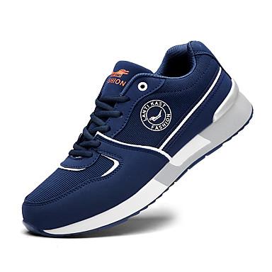 Homens sapatos Tule Primavera / Verão Solados com Luzes Tênis Corrida Preto / Cinzento / Azul