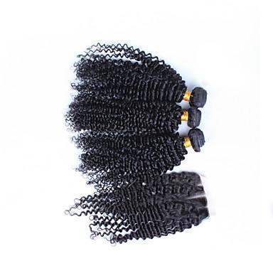 Hair Vetülék, zárral Brazil haj Kinky Curly 12 hónap haj sző