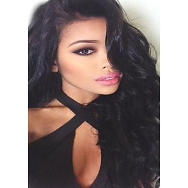 Emberi haj Csipke Csipke eleje Paróka Hullámos haj 120% 130% Sűrűség glueless 100% kézi csomózású Afro-amerikai paróka Természetes