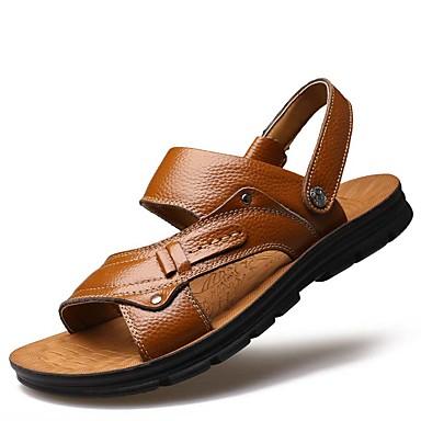 f614c7c75 رجالي أحذية جلدية جلد الربيع / الصيف صنادل مقاوم للماء أصفر / بني / الحفلات  و