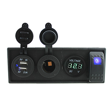 cheap Auto Parts-DC 12V/24V led power voltmeter 3.1A USB port Sockets with rocker switch jumper wires and housing holder