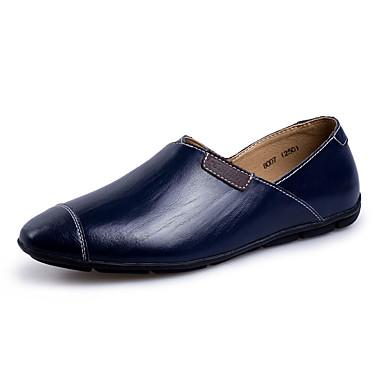Homens sapatos Pele Primavera / Verão / Outono Mocassim Mocassins e Slip-Ons Caminhada Preto / Marron / Azul Marinho