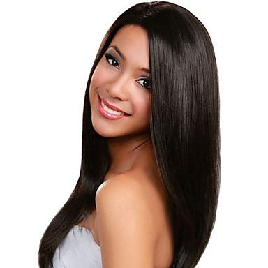 Ekte hår Blonde Forside Parykk Rett 130% tetthet 100 % håndknyttet / Afroamerikansk parykk / Naturlig hårlinje Lang Dame Blondeparykker
