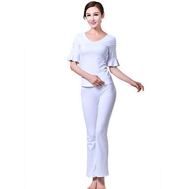 SBART Dame V-hals Yogaklær - Hvit sport Klessett Yoga & Danse Sko Kortermet Sportsklær Bekvem Høy Elastisitet