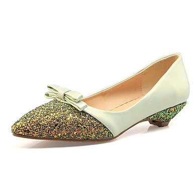 Rose pointu Chaussures Vert Femme amp; Bas Soirée Noeud Polyuréthane Eté Evénement Printemps Amande Talon Bout Ballerines 05551632 Pwg8xw