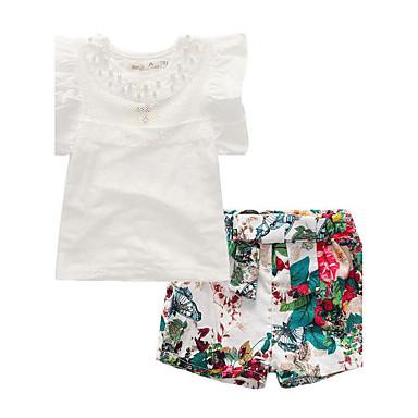 aa35c111a81305 Kids   Toddler Girls  Daily Floral Patchwork Short Sleeve Regular Regular  Rayon   Polyester Clothing Set White