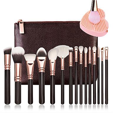 15pçs Pincéis de maquiagem Profissional Conjuntos de pincel / Pincel para Blush / Pincel para Sombra Pêlo Sintético Portátil / / Madeira