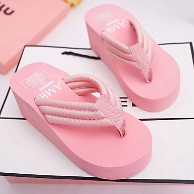 voordelige Damespantoffels & slippers-Dames Slippers & Flip-Flops Wedge Heel Flip-Flops Platte hak Ronde Teen Elastiek PU Zomer Beige / Blauw / Roze / EU39