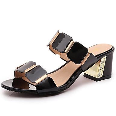 Mulheres Sapatos Sintético Primavera / Verão / Outono Gladiador Sandálias Salto Robusto Peep Toe Branco / Preto / Festas & Noite
