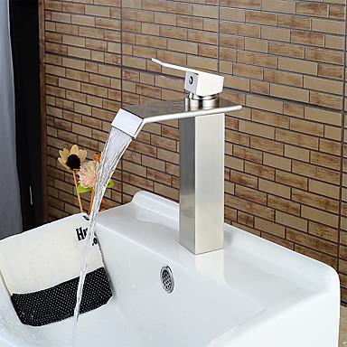 Torneira pia do banheiro - Cascata Níquel Escovado Conjunto Central Monocomando e Uma Abertura