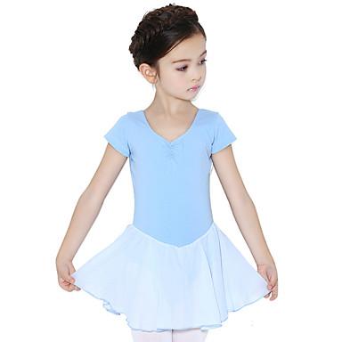 Ballettsko Kjoler Trening Bomull Drapert Kort Erme Naturlig Kjole
