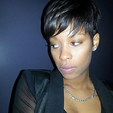 Human Hair Capless Parykker Ekte hår Rett Pixiefrisyre Med lugg Afroamerikansk parykk Side del Kort Maskinprodusert Parykk Dame