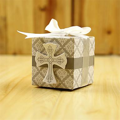 suporte de papel de cartão cubico com fitas favor caixas-50
