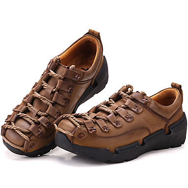 Men's Nappa Leather Spring / Summer / Fall Light Comfort Sneakers Hiking Shoes Light Fall Brown / Party & Evening 3fbbf5