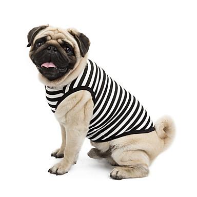 Gato / Cachorro Camiseta / Moletom Roupas para Cães Riscas Amarelo / Azul / Rosa claro Algodão Ocasiões Especiais Para animais de estimação Verão Clássico / Férias / Casual