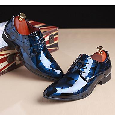 baratos Super Ofertas-Homens Impressão Oxfords Couro Envernizado Primavera / Outono Oxfords Castanho Claro / Vermelho / Azul / Festas & Noite / Festas & Noite / Ao ar livre / Sapatos Confortáveis / EU40