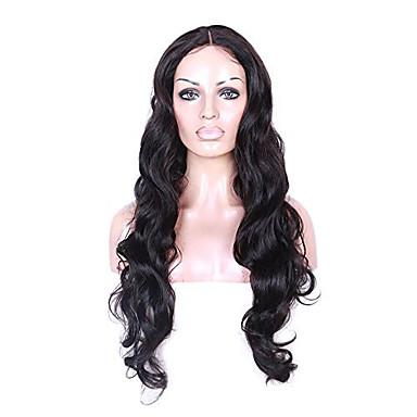 Naisten Aitohiusperuukit verkolla Aidot hiukset Full Lace Liimaton kokoverkko 130% Tiheys Runsaat laineet Peruukki Jet Black Musta