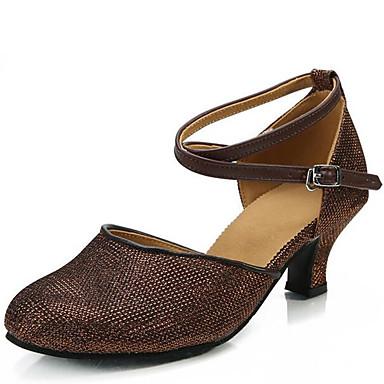 للمرأة أحذية رقص براق صندل كعب متوسط غير مخصص أحذية الرقص ذهبي / فضي / بني داكن