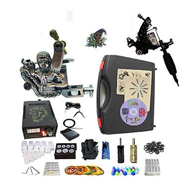 Profesjonell Tattoo Kit 1 x stål tatoveringsmaskin til lining og skyggelegging 1 x legering tatovering maskin for fôr og skyggelegging 2