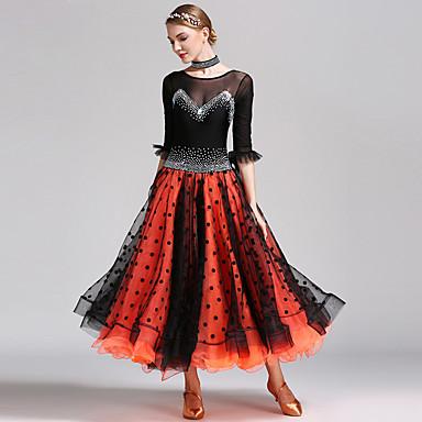 ボールルームダンス 女性用 ダンスパフォーマンス スパンデックス チュール 五分袖 ドレス Neckwear