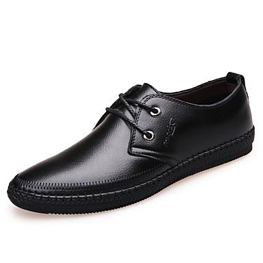 Homens sapatos Couro Primavera / Outono Conforto / Botas da Moda Oxfords Caminhada Preto / Marron / Festas & Noite