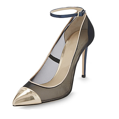 Damen Schuhe Stoff Herbst Winter Pumps High Heels Spitze Zehe Kombination Für Normal Schwarz