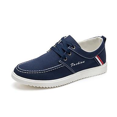 Herre sko Lerret Vinter Vår Sommer Høst Komfort Trendy støvler Treningssko Snøring til Avslappet Svart Blå