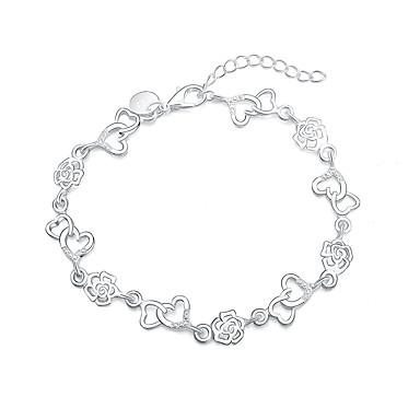 Dame Vedhend Armband - Sølvplett Roser, Hjerte, Blomst Mote Armbånd Sølv Til Gave