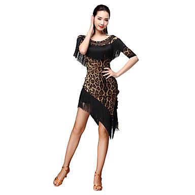 الرقص اللاتيني أزياء نسائي التدريب ألياف الحليب منقط فهدي / شرابة 3/4 الكم ارتفاع متوسط بلايز / الالتفاف