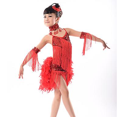 Dança Latina Vestidos Espetáculo Fibra de Leite Mocassim / Lantejoula Sem Manga Natural Vestido / Decoração de Cabelo / Neckwear